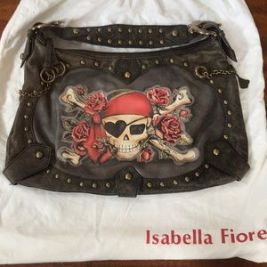 Isabella Fiore Tattoo Pirate leather hobo bag